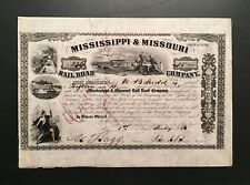 Civil War General John A. Dix Signature on 1857 Stock, Mississippi & Missouri RR
