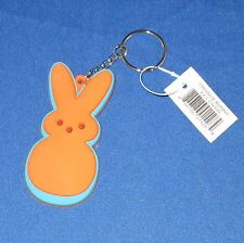 Peeps - Orange Bunny w Blue Trim - Rubber Keychain - Easter - New