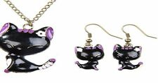 Sweet Korean Style Mini Kitty Pattern Lady Girl Stud Earrings Necklace Set