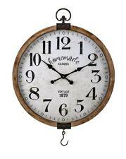 Orologio da parete in legno e ferro rotondo vintage con vetro