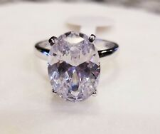 925 STERLING SILVER 6 CARAT 10 MM X 14 MM OVAL CUT CZ ENGAGEMENT RING SIZE 6