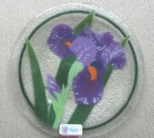 "Peggy Karr Irises Fused Glass 8"" Round Plate"