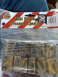 US Toy Dozen Mini Pirate Gold Treasure Chests open package