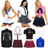 Sexy Women School Girl Uniform Cosplay Anime Plaid Skirt Fancy Costume Lingerie