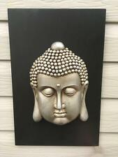 46cm x 30cm Black Raised Buddha Face Wall Art Plaque Indoor Hanging