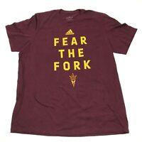 Adidas Arizona State Sun Devils Shirt Size Extra Large XL Burgundy FEAR THE FORK