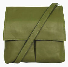 Womens Handbag Italian Leather Olive Green Vera Pelle Cross Body Messenger Bag