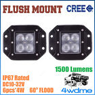 Pair 16W CREE FLUSH Mount LED Light FLOOD Beam Offroad Work 4WD Truck Trailer