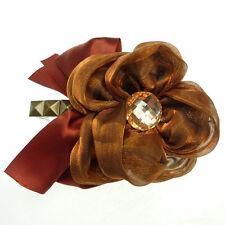 Barrette Pince à Cheveux Fleur organza cuivré noeud satin rouge rouille & bronze