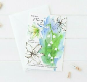 Happy May Birthday Lily Of The Valley  Watercolor Greeting Card Botanical Flower