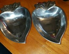 Set of Vintage Shiny Heavy Aluminum Pressed Thick Metal Radish Shaped Snack Dish