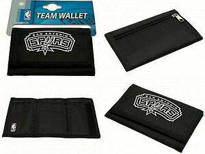 Official NBA Basketball San Antonio Spurs Black Nylon Trifold Foil Print Wallet
