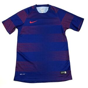 Nike Soccer Jersey Size Small S Blue Dry Fit Shirt Short Sleeve Striped Dri-FIT