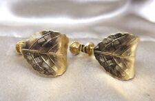 Napier Vintage Costume Earrings Gold tone Leaf Design Clip on Estate Petite