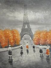 Parigi Nero Bianco Rosso Grande Dipinto Ad OLIO Francese Tela Arte Contemporanea Originale