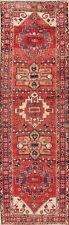 Vintage Geometric Heriz 10 ft Oriental Runner Rug Handmade Staircase Carpet 3x10