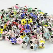 Lots Enamel Flower Silver Big Hole Spacer Charm Beads 10mm for European Bracelet