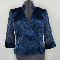 Alex Evenings Blue Black Floral 3/4 Sleeve V-Neck Blouse Womens Size L