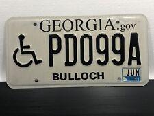 "License Plate ""HANDICAP ICON"" 6/11 Bulloch GEORGIA Motor Vehicle Auto Tag PD099A"