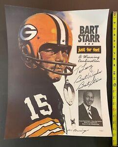 HOF Bart Starr Signed Poster Green Bay Packers Football JSA