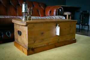 antique victorian pine chest trunk, coffee table, working lock and key