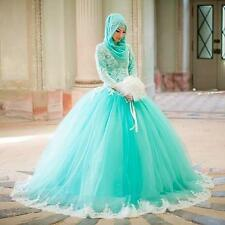 Green Ball Gown Long Sleeves Mint Muslim Party Prom Quinceanera Dresses Custom