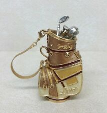 Linx Gold Caddie Bag Decorative Gold Tone W/ Chain Paperweight