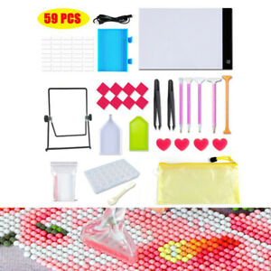 59Pcs 5D Diamond Painting Tools Kit Light Box Led Drawing Board Pad Accessories