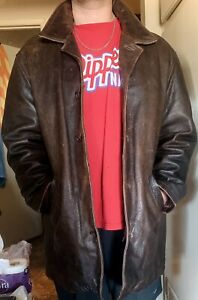 Supernatural Dean Winchester Wilsons Leather Distressed Car Coat Size LARGE