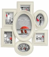 Shabby Chic Multi Aperture Photo Frame Picture Frame Holds 7 Photos Off White