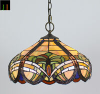 New JT Tiffany Stained Glass 16 Inch Shade Baroque Style Pendant Lamp Light Home