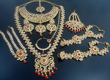 TRADITIONAL RED LCT GOLD TONE NECKLACE WEDDING BRIDAL DULHAN JEWELRY SET 10 PCS
