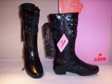 Asso scarpe stivali stivaletti casual bimba bambina tacchi neri boots 24 25 28