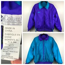 Vintage Columbia Reversible Puffer Jacket Turquoise Teal Purple Women's Xl