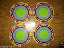 """New listing New Set of 4 Striped Medley Cork-Back Coasters ~ 3.75"""" round, Nib multi-color"""