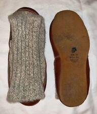 Mens Size 7.5-8.5 Womens 9-10 ACORN Knit Slippers Socks Gray Red Pull On Shoes