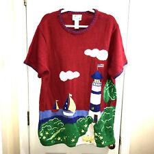 Quaker Factory Red XL Lighthouse Ducks short sleeve sweater QVC sailboat cruise