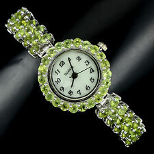 Sterling Silver 925 Genuine Natural Apple Green Peridot Bracelet Watch 7 Inches