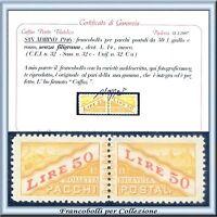 1946 San Marino Pacchi n. 32c Senza Filigrana Certificat Caffaz Nuovo Integro **