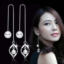 Line Women Lady Charm Fashion Jewelry Real 925 Silver Pearl Long Earrings Ear