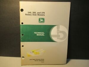 240 260 270 Rotary Disk Mowers John Deere Technical Manual TM1367 Free USA Ship