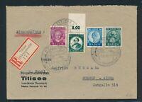 FRZ. ZONE 1949, Mi. 47-49 + 53 Brief, portorichtige MiF nach Argentinien!!!