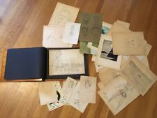 1940s Pencil Sketch Collection in Wooden Scrapbook Album Amateur Outsider Art
