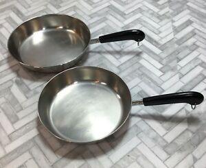 "Revere Ware Set of 2 Skillet Frying Pans 10"" 9"" Copper Bottom Cookware Lot of 2"