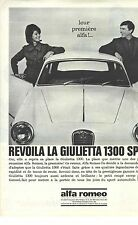 PUBLICITE ADVERTISING  1960  ALFA ROMEO  la GUILIETTA 1300 sprint