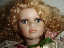 "FANCY PORCELAIN DOLL 19"" VICTORIAN STYLE THE EMERALD DOLL COLLECTION PEACH DRESS"