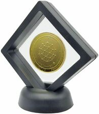 24k Gold Plated Quantum Coin QTUM Crypto Currency in 3D Floating Display stand