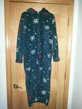 Womens ASHELY TAYLOR Winter Snowflakes Zip Fleece Sleepwear Bath Robe Sz XS
