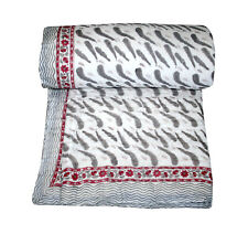 "Reversible Hand Block Print Quilt Blanket Throw King Size 88x106"" Inch"