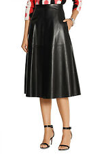 VALENTINO LEATHER MIDI SKIRT US 4 UK 8